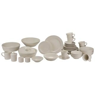 Atlas 45-Piece Ivory Porcelain Dinnerware and Serveware Set