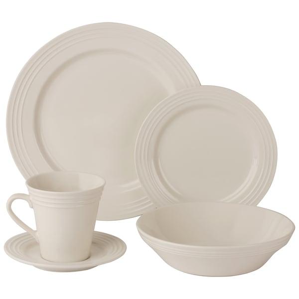 10 Strawberry Street Atlas 20-Piece Ivory Porcelain Dinnerware Set 18285533