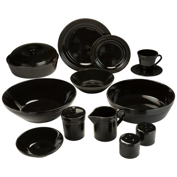 10 Strawberry Street Atlas 45-Piece Black Porcelain Dinnerware and Serveware Set 18285536