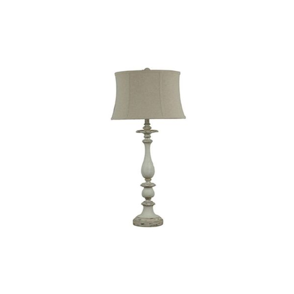 Crestview Collection 35-inch Worn Grey and White Table Lamp