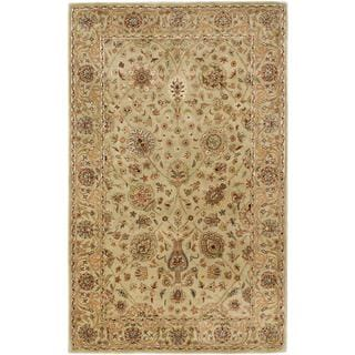 ecarpetgallery Handmade Timeless Beige and Green Wool Rug (5' x 8')