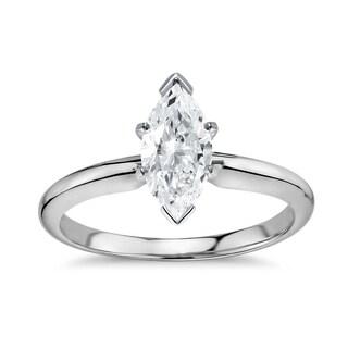 14k Gold 1ct TDW GIA Certified Diamond Marquise Engagement Ring (D-E, VS1-VS2)