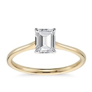 14k Gold 1 1/10ct TDW GIA Certified Diamond Emerald-Cut Engagement Ring (H-I, VVS1-VVS2)