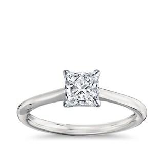 14k Gold 1 1/2ct TDW GIA Certified Diamond Princess Engagement Ring (I-J, VS1-VS2)