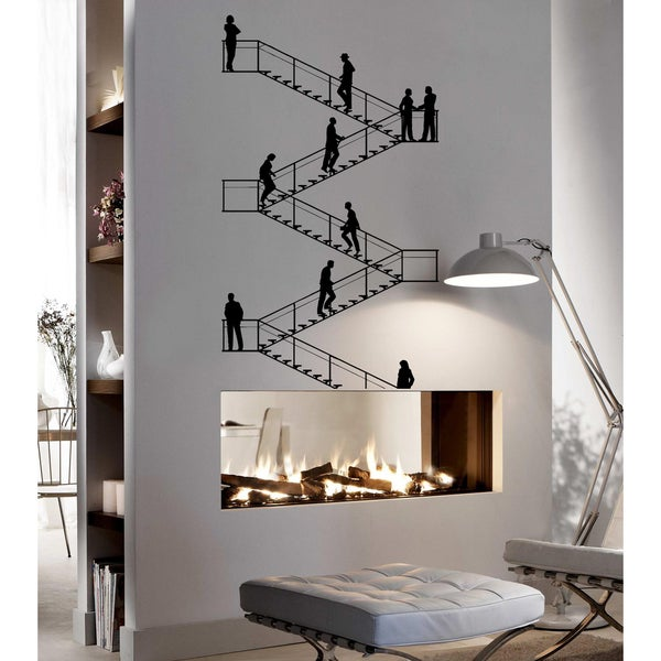 People on the stairs Wall Art Sticker Decal