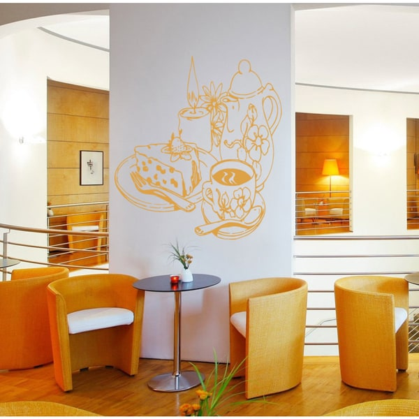 Cafe Bar Restaurant tea coffee cake candle Wall Art Sticker Decal Orange