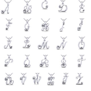 Diamond Accent Swirly Initial Necklace In White Gold With 18 Inch Cable Chain (I-J, I1-I2)