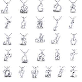 Swirly Initial Necklace In Heavy White Gold With Free 18 Inch Cable Chain, All Letters Available