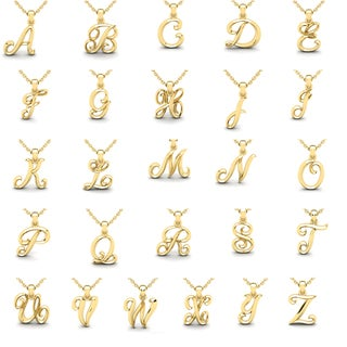 Swirly Initial Necklace In Heavy 14 Karat Yellow Gold With Free 18 Inch Cable Chain, All Letters Available