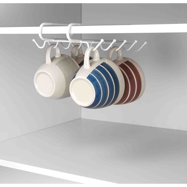 Home Basics Under the Shelf Wire Mug Holder with 10 Hooks in White