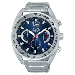 Pulsar Men's Stainless Steel Blue Dial Chronograph Watch