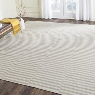 Safavieh Hand-Woven Montauk Ivory/ Light Grey Cotton Rug (8' x 10')