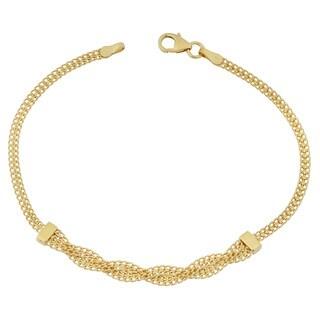 Fremada Italian 10k Yellow Gold Fancy Braided Curb Link Bracelet (7.5 inches)