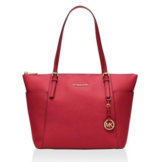 Michael Kors Jet Set Large Top-Zip Saffiano Leather Tote Bag