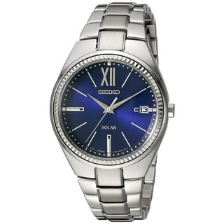 Seiko Ladies SNE876 Stainless Steel Recraft Solar Silver Tone Blue Dial Watch with a Date Window