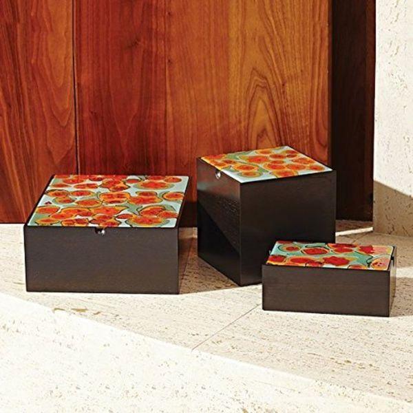 Amoeba Square Box-Walnut