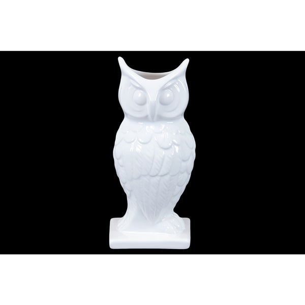 Mesmerizing Hooting Ceramic Owl On Stand In White (Large) 18289163