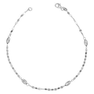 Fremada Italian Sterling Silver Diamond-cut Oval Bead Station Bracelet