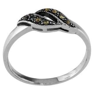 Sterling Silver Wave Design Marcasite Ring