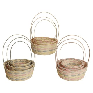 Whitewashed Woven Bamboo Baskets and Pot Covers with Pastel Accents (Set of 3)