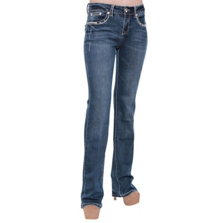 Women's Stretchy Studded Rhinestone Stitched Bootcut Jeans