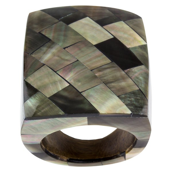 Mosaic Mother of Pearl Statement Ring