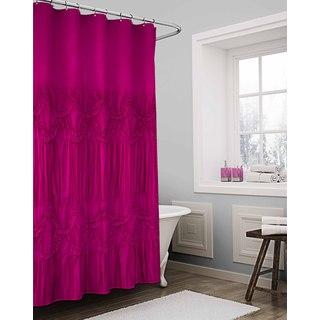 Vue Sienna Solid Fuchsia Textured Shower Curtain