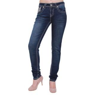 Women's Studded Non-flap Back Pocket Skinny Jeans