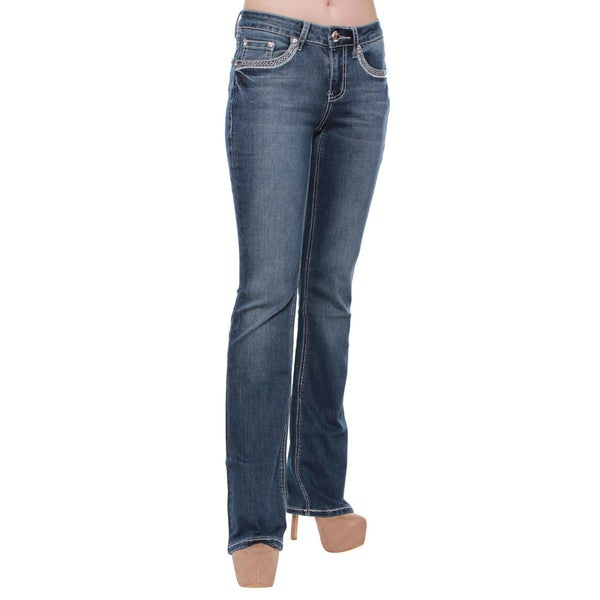 Women's Dark Wash Four Pocket Floral Embroidery Bootcut Jeans