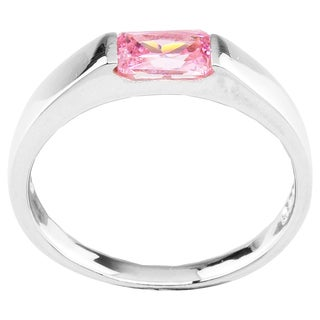 Sterling Silver Emerald Cut Pink Cubic Zirconia Ring