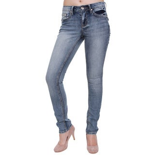 Women's Rhinestone Button Studded Rear Pockets Skinny Jeans
