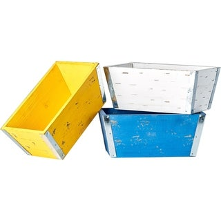 Bright 9.5-inch Wood and Metal Planter in Blue, Yellow and White (Set of 3)