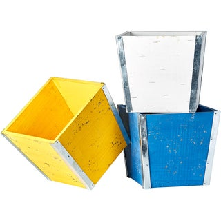 Bright 7-inch Wood and Metal Planter in Blue, Yellow and White (Set of 3)