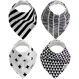 """Baby Bandana Drool Bibs, Unisex 4-PACK Absorbent Organic Cotton, Modern Baby Gift Set """"GEOMETRIC"""" by Two Tree Baby"""