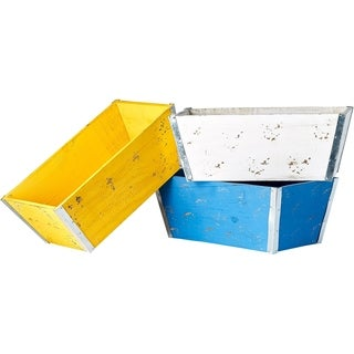 Bright 13.5-inch Wood and Metal Planter in Blue, Yellow and White (Set of 3)