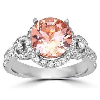 Noori 14k White Gold 2ct TGW Morganite and 2/5ct TDW Diamond Engagement Ring (I-J, I1-I2)