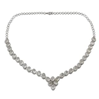 Sterling Silver 'Cascading Light' Moonstone Necklace (India)