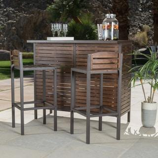 Christopher Knight Home Milos Outdoor 3-piece Acacia Wood Bistro Bar Set