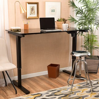 Christopher Knight Home Weber 48-inch Adjustable Glass Standing Desk with Single Powered Base
