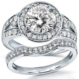 Annello 14k Gold 1 1/2ct TCW Round Moissanite and 1/2ct TDW Diamond Halo Bridal Ring 2-Piece Set (G-H, I1-I2)