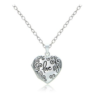 Mondevio Sterling Silver Swirl Love Heart Locket Necklace