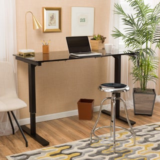 Christopher Knight Home Weber 48-inch Adjustable Glass Standing Desk with Manuel Base