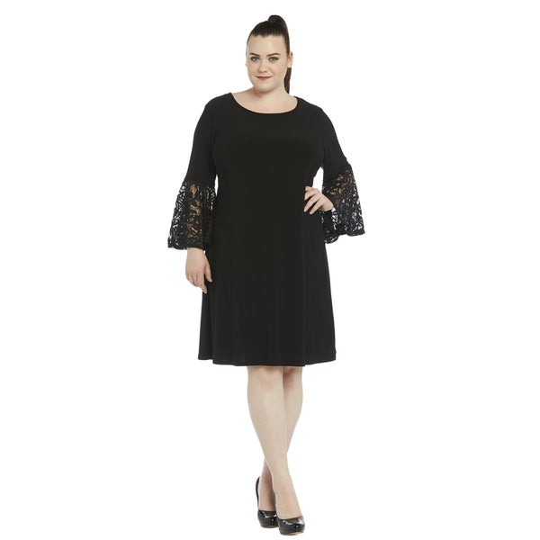 R&M Richards Black Lace Plus Size Cocktail Dress