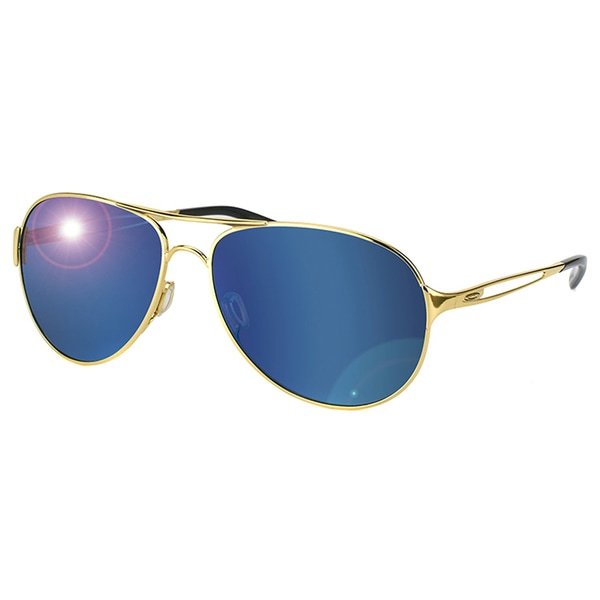 Oakley Caveat OO4054-16 Polished Gold Aviator Ice Iridium Lens Sunglasses