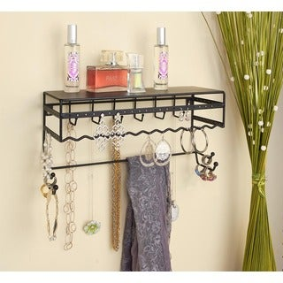 Simplify Wall Mount Jewelry and Accessory Storage Rack and Organizer Shelf