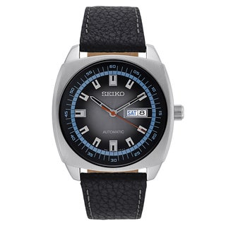 Seiko Men's Black Leather and Stainless Steel Automatic Watch