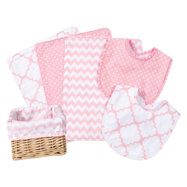 Trend Lab Pink Sky 7-piece Feeding Basket Gift Set