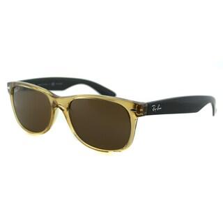 Ray Ban RB 2132 New Wayfarer 945/57 Honey Plastic Brown Polarized Lens 55mm Sunglasses