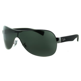 Ray Ban RB 3471 004/71 Matte Gunmetal Shield Green Lens Sunglasses