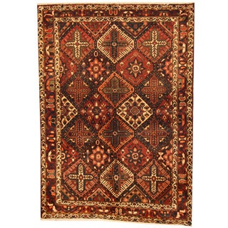 Herat Oriental Persian Hand-knotted 1960s Semi-antique Bakhtiari Ivory/ Gold Wool Rug (5'1 x 7'3)